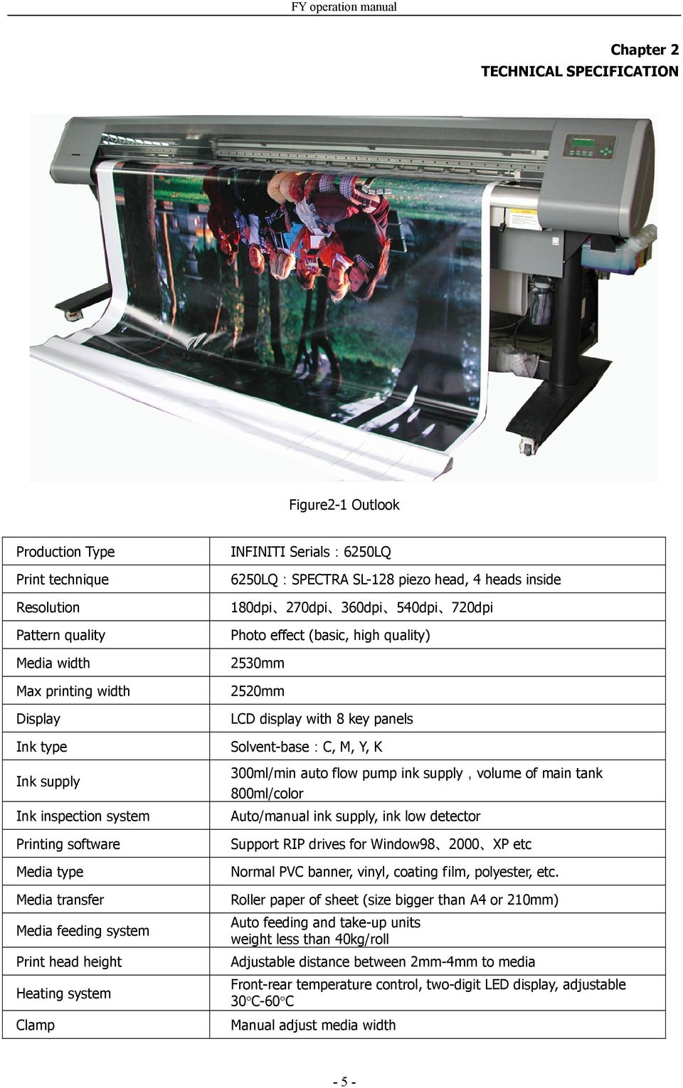 540dpi 720dpi Photo effect (basic, high quality) 2530mm 2520mm LCD display with 8 key panels Solvent-base:C, M, Y, K 300ml/min auto flow pump ink supply,volume of main tank 800ml/color Auto/manual