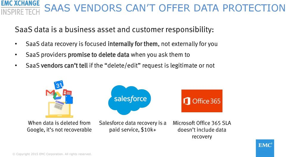 them to SaaS vendors can t tell if the delete/edit request is legitimate or not When data is deleted from Google,
