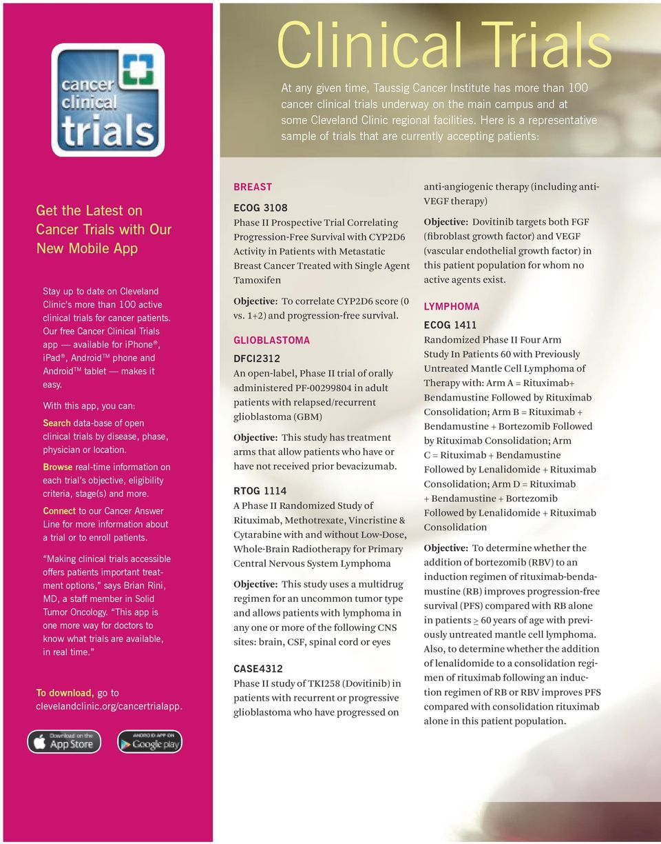 clinical trials for cancer patients. Our free Cancer Clinical Trials app available for iphone, ipad, Android TM phone and Android TM tablet makes it easy.