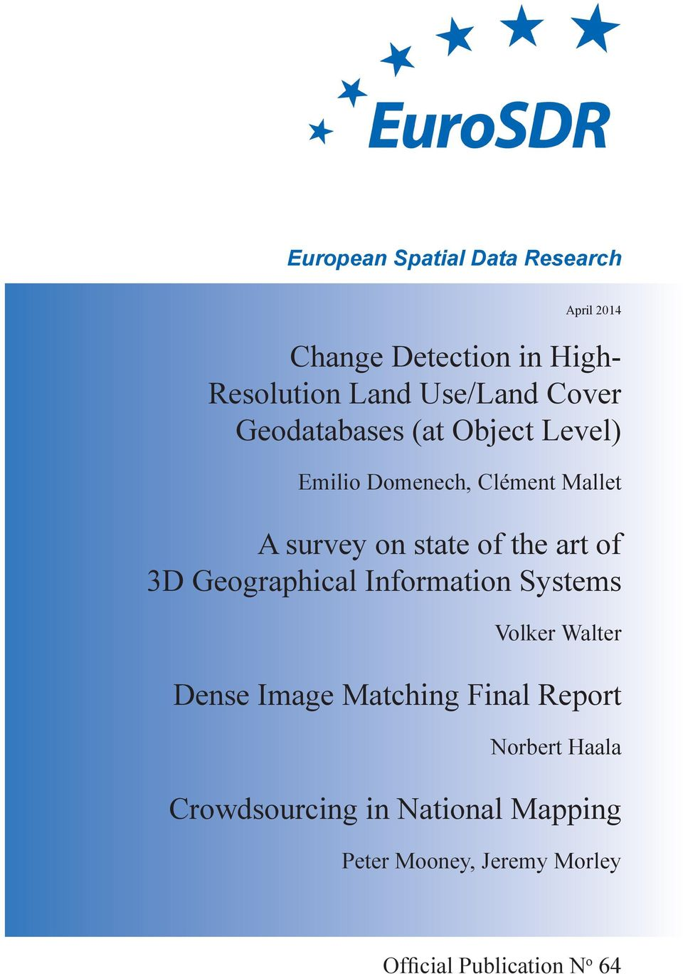 art of 3D Geographical Information Systems Volker Walter Dense Image Matching Final Report