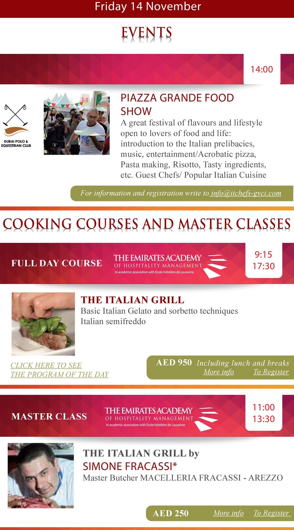 Guest Chefs/ Popular Italian Cuisine For information and registration write to info@itchefs-gvci.