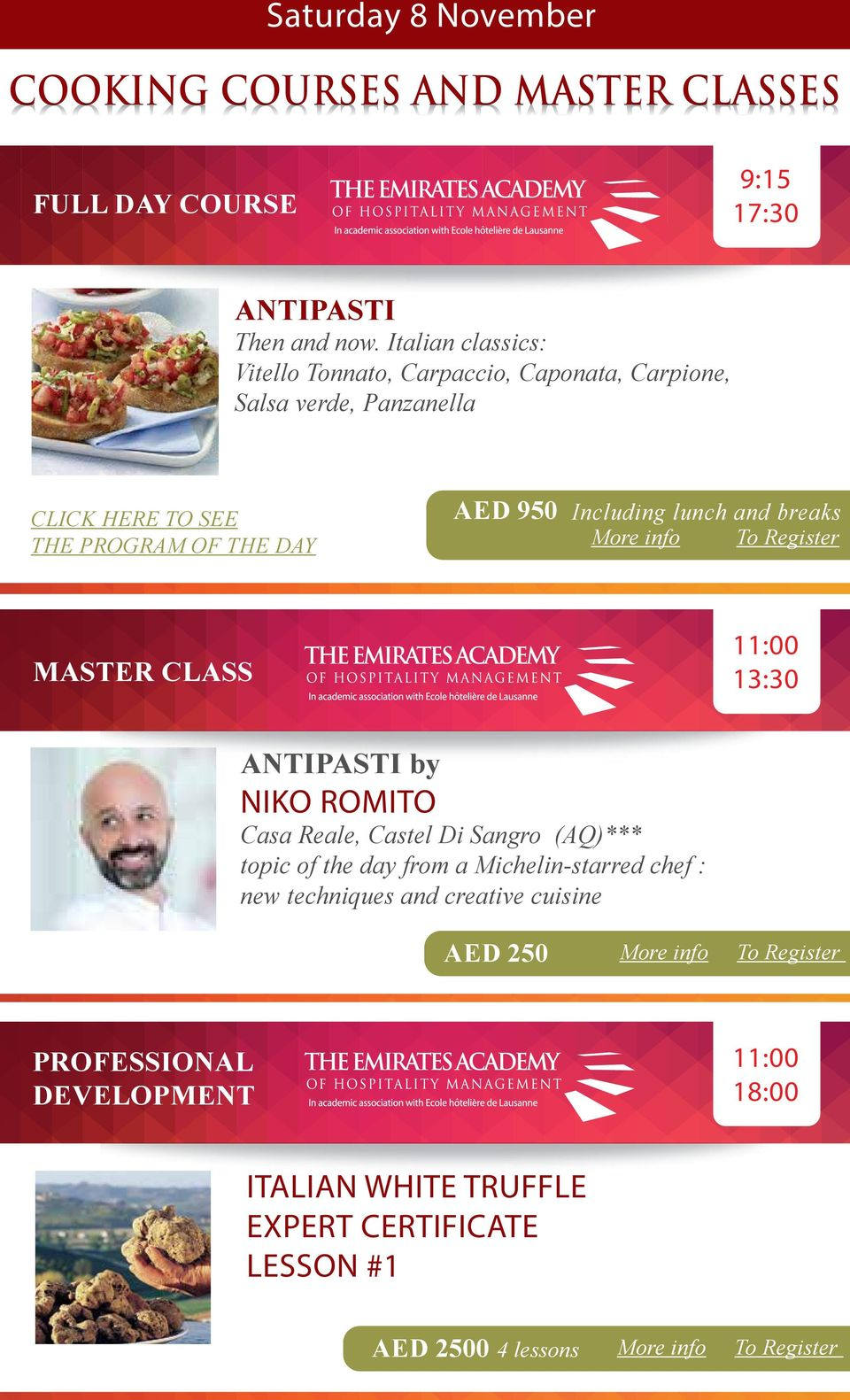 Including lunch and breaks MASTER CLASS 13:30 ANTIPASTI by NIKO ROMITO Casa Reale, Castel Di Sangro (AQ)*** topic of the day from a