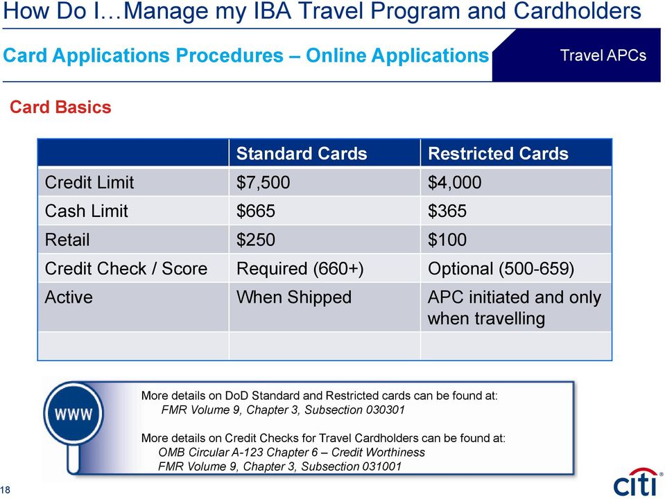 18 More details on DoD Standard and Restricted cards can be found at: FMR Volume 9, Chapter 3, Subsection 030301 More details on Credit