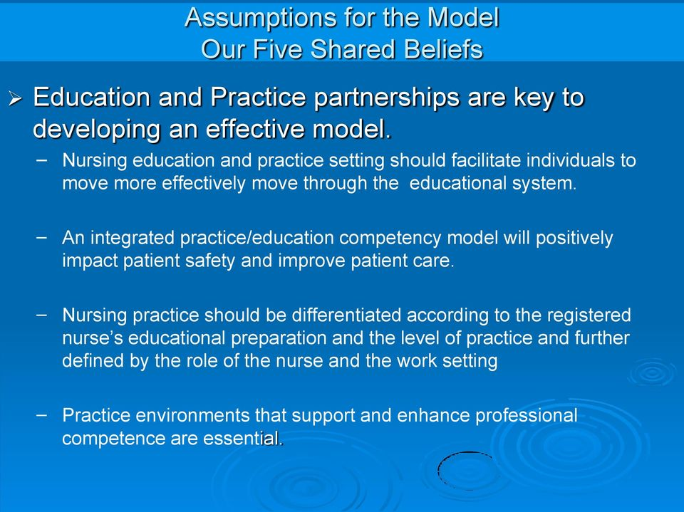 An integrated practice/education competency model will positively impact patient safety and improve patient care.
