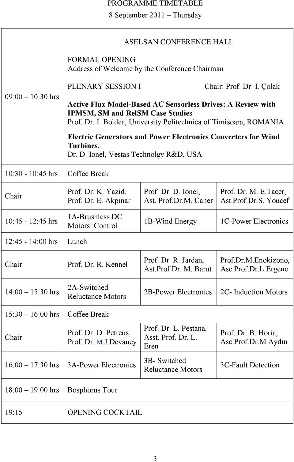 MSM, SM and RelSM Case Studies Prof. Dr. I. Boldea, University Politechnica of Timisoara, ROMANIA 10:30-10:45 hrs Coffee Break Electric Generators and Power Electronics Converters for Wind Turbines.