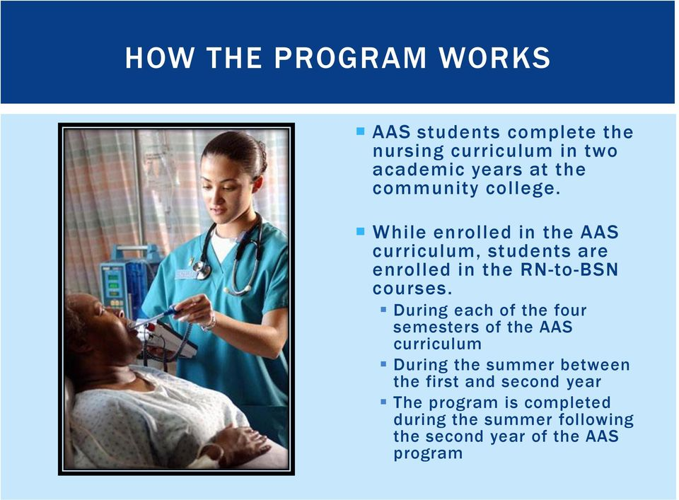 While enrolled in the AAS curriculum, students are enrolled in the RN-to-BSN courses.