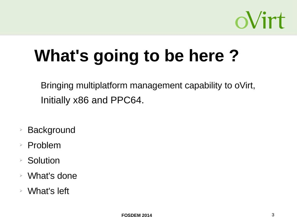 capability to ovirt, Initially x86 and