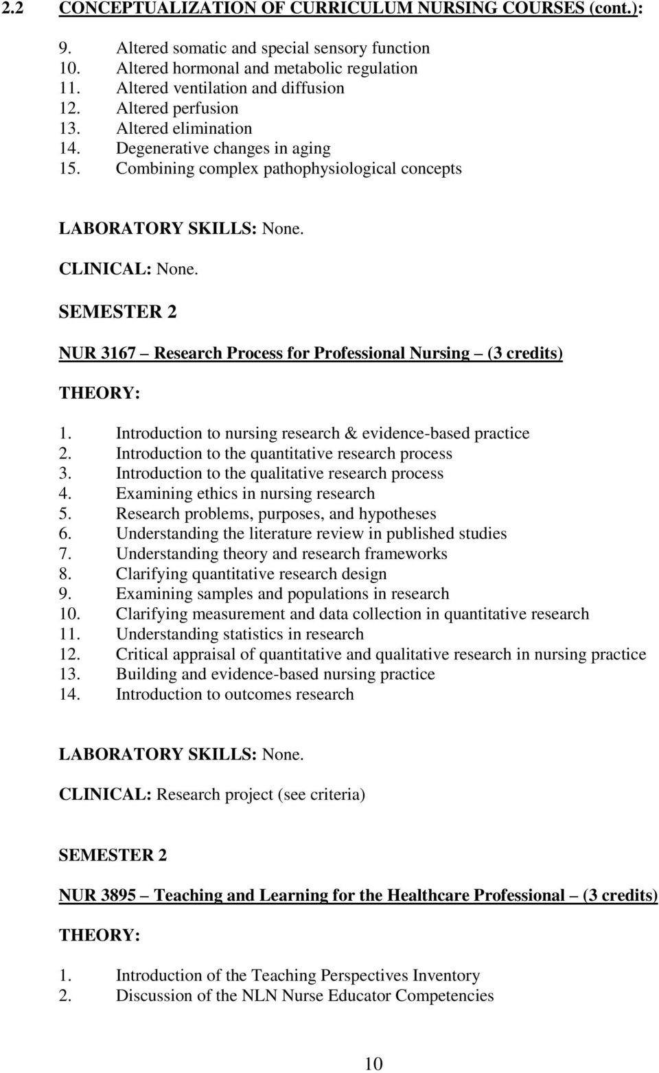 SEMESTER 2 NUR 167 Research Process for Professional Nursing ( credits) THEORY: 1. Introduction to nursing research & evidence-based practice 2. Introduction to the quantitative research process.