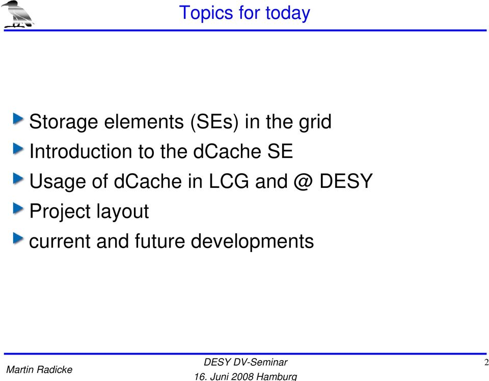 SE Usage of dcache in LCG and @ DESY