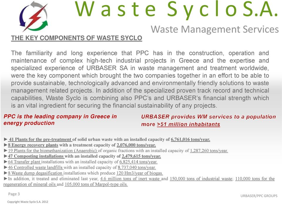 technologically advanced and environmentally friendly solutions to waste management related projects.