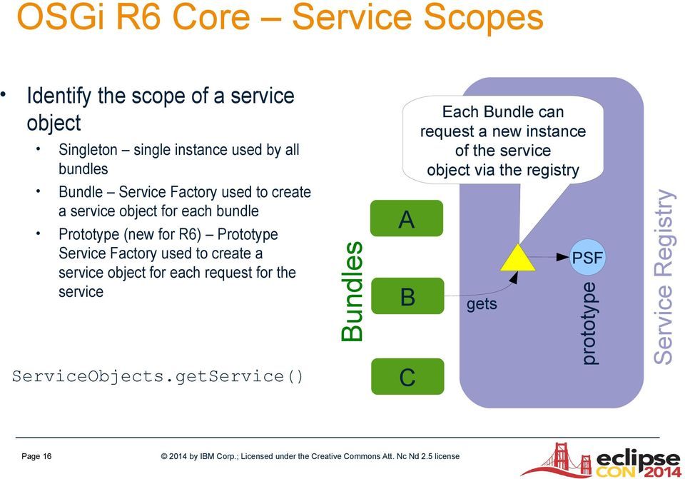 a service object for each bundle Prototype (new for R6) Prototype Service Factory used to create a service object