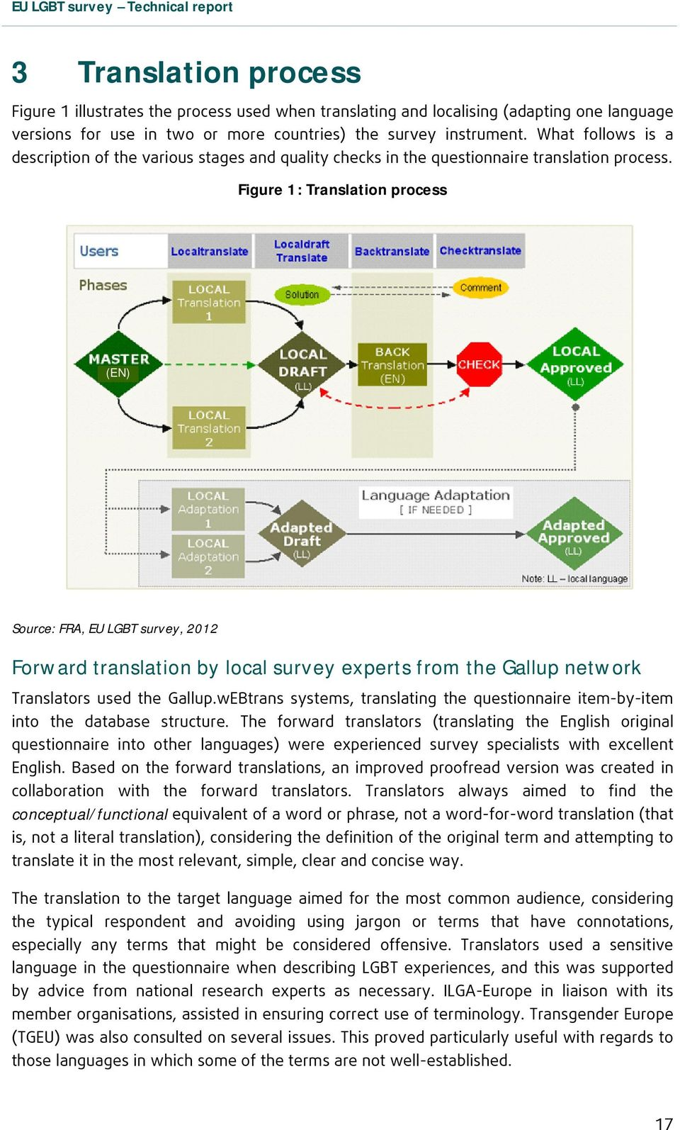 Figure 1: Translation process (EN) Source: FRA, EU LGBT survey, 2012 Forward translation by local survey experts from the Gallup network Translators used the Gallup.