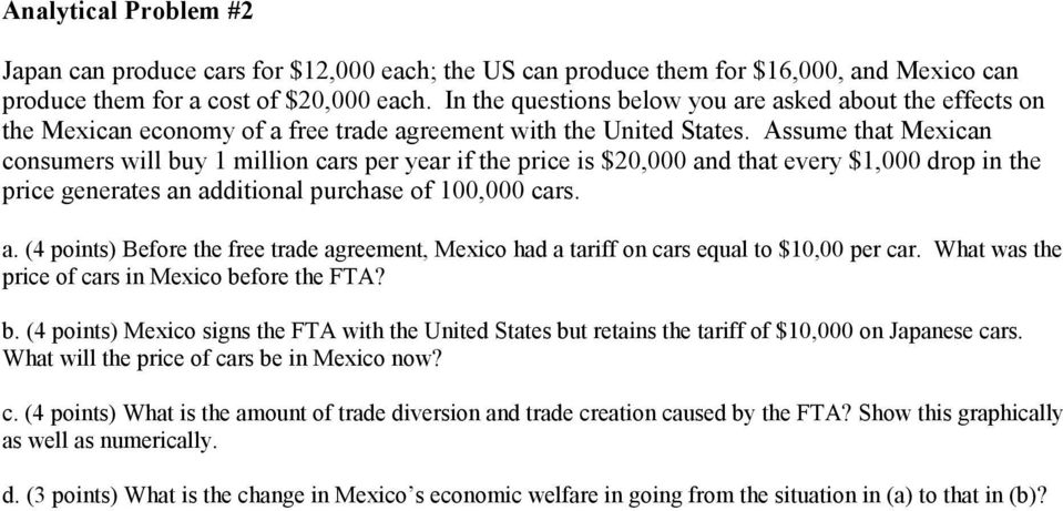 Assume that Mexican consumers will buy 1 million cars per year if the price is $20,000 and that every $1,000 drop in the price generates an additional purchase of 100,000 cars. a. (4 points) Before the free trade agreement, Mexico had a tariff on cars equal to $10,00 per car.