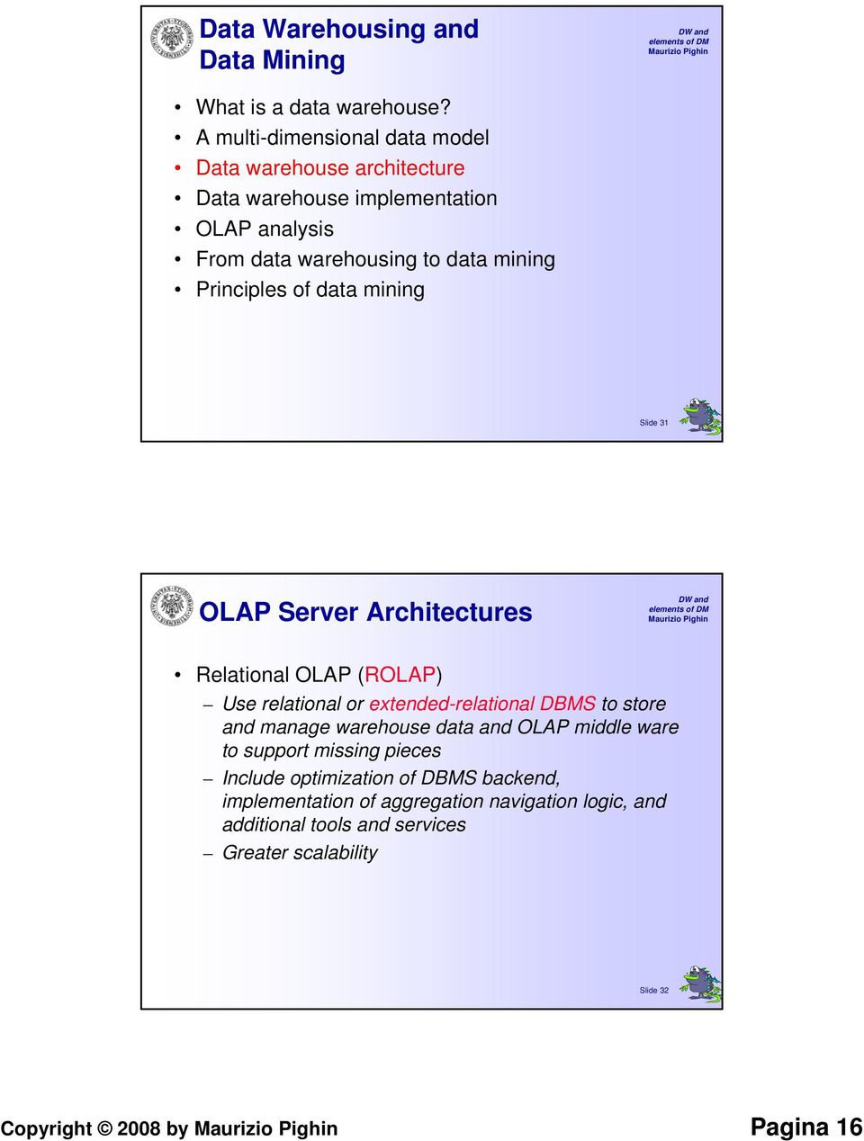 Principles of data mining Slide 31 OLAP Server Architectures Relational OLAP (ROLAP) Use relational or extended-relational DBMS to store and