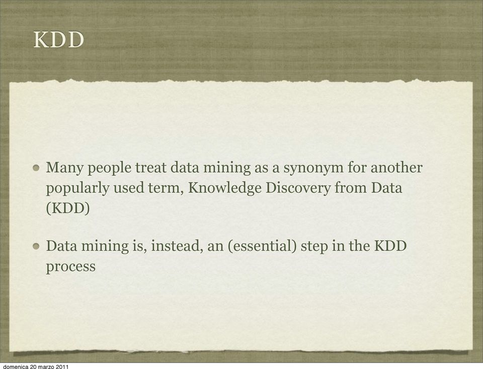 Knowledge Discovery from Data (KDD) Data