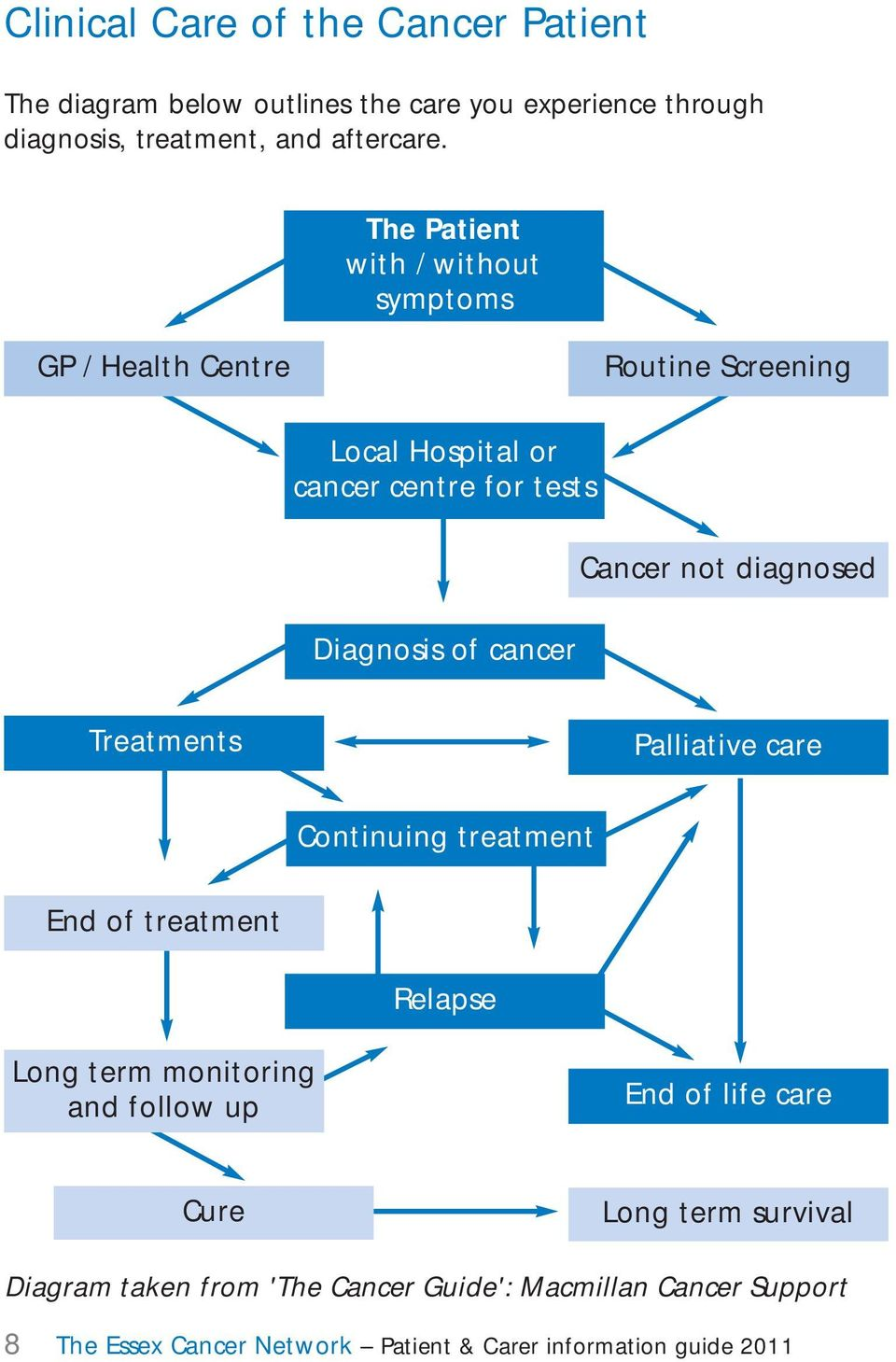 Diagnosis of cancer Treatments Palliative care Continuing treatment End of treatment Relapse Long term monitoring and follow up End of life
