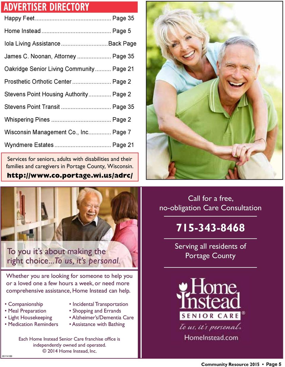 .. Page 7 Wyndmere Estates... Page 21 Services for seniors, adults wit