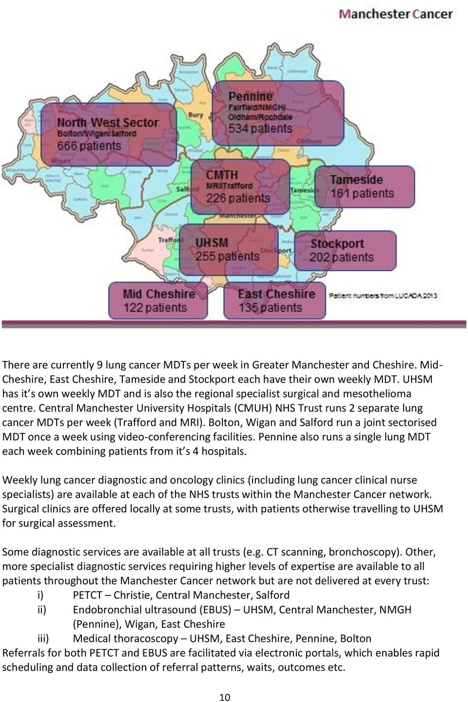 Central Manchester University Hospitals (CMUH) NHS Trust runs 2 separate lung cancer MDTs per week (Trafford and MRI).