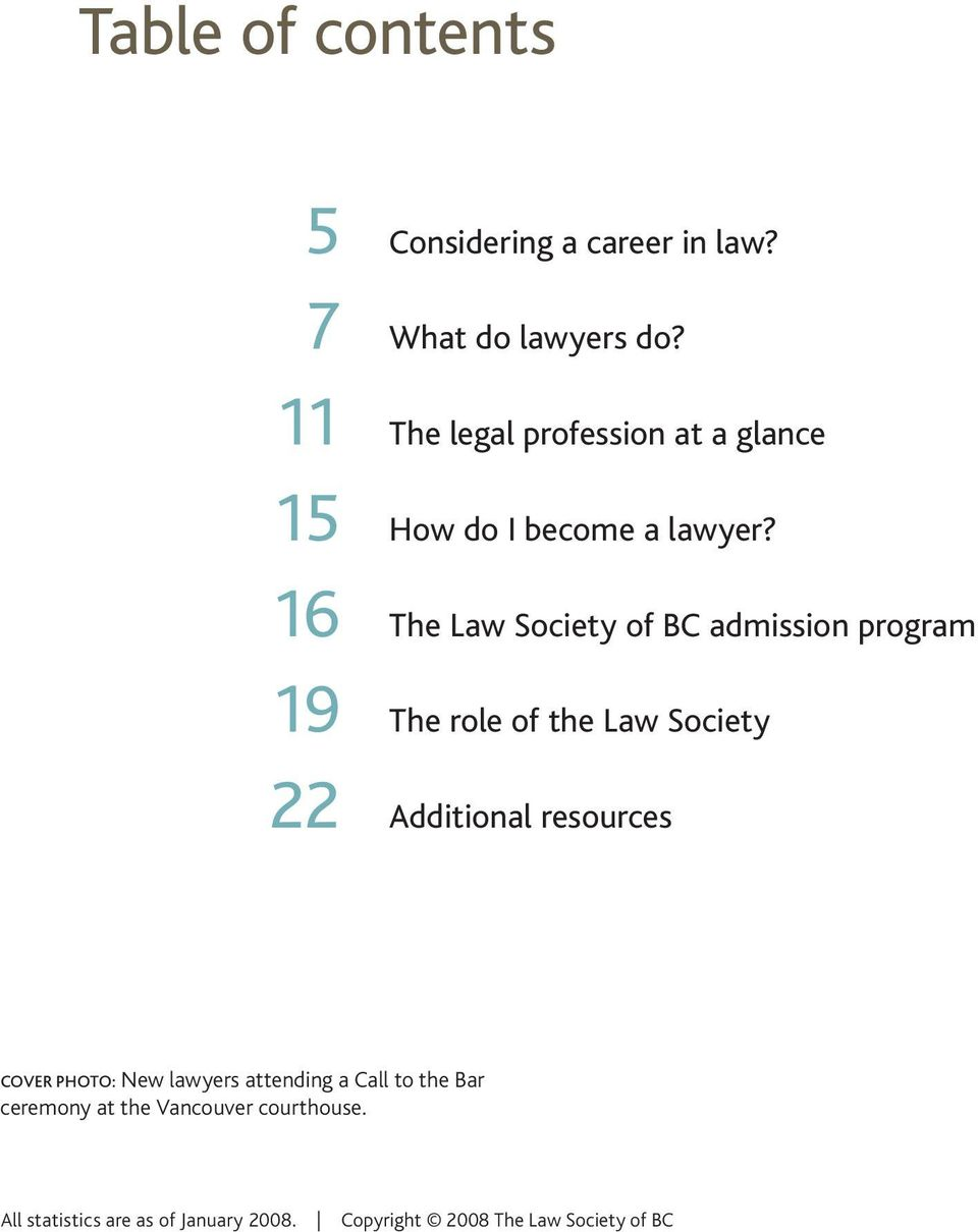 16 The Law Society of BC admission program 19 The role of the Law Society 22 Additional resources