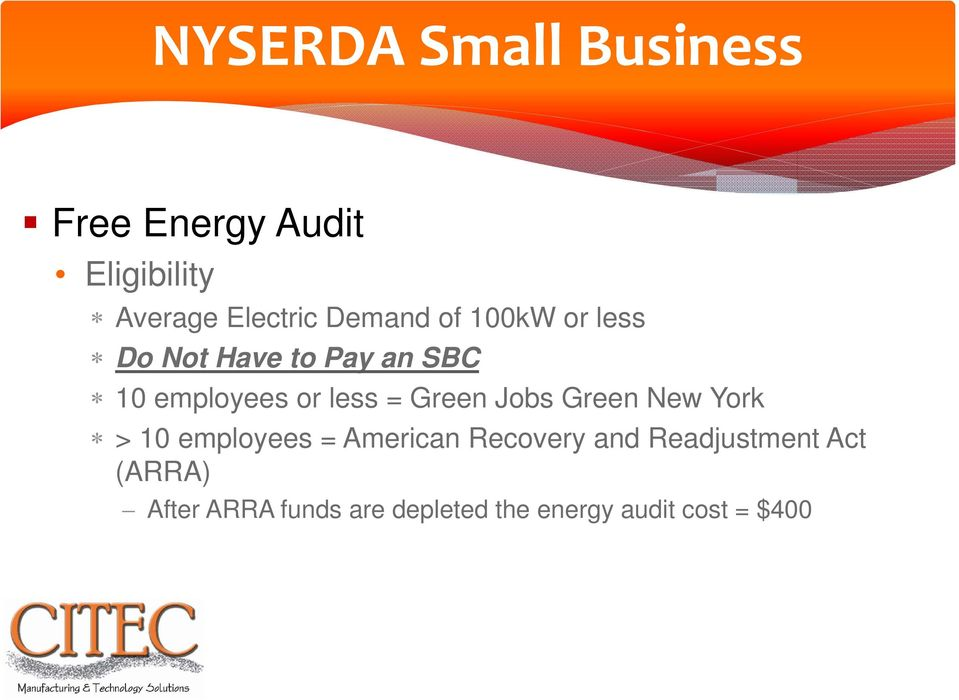 Green Jobs Green New York > 10 employees = American Recovery and