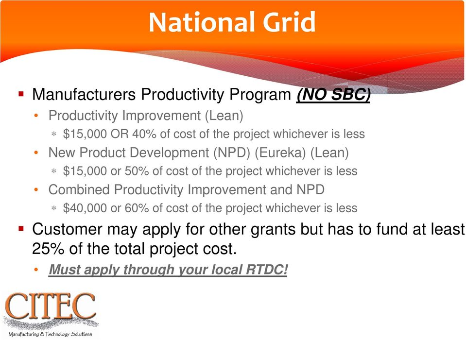 whichever is less Combined Productivity Improvement and NPD $40,000 or 60% of cost of the project whichever is less