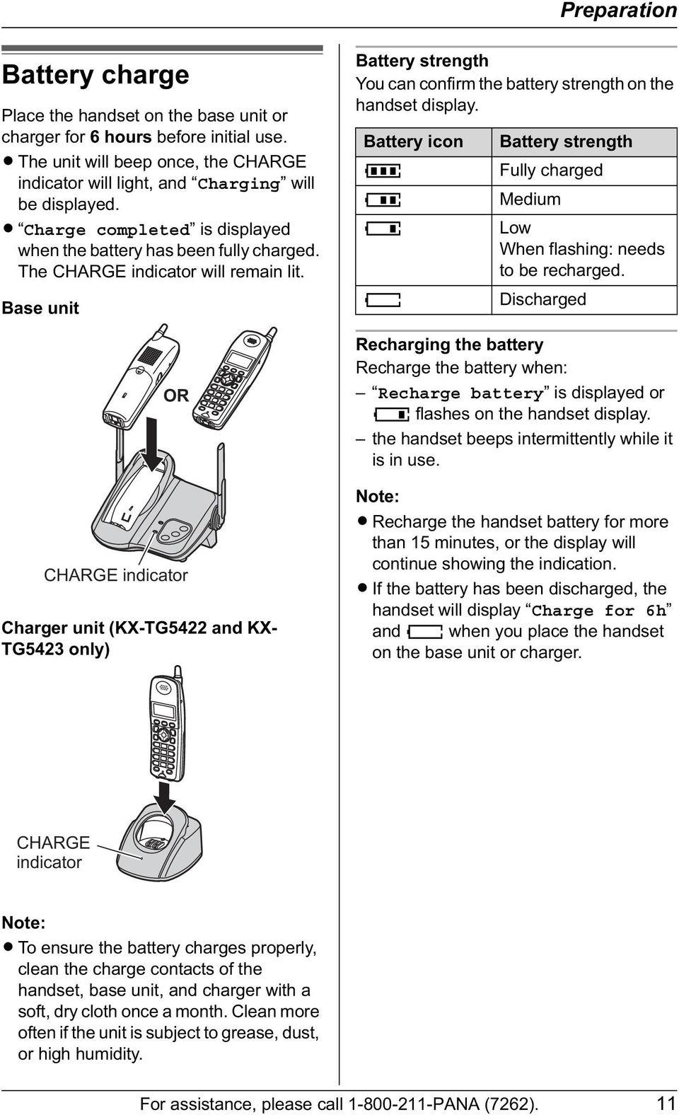 Base unit OR CHARGE indicator Charger unit (KX-TG5422 and KX- TG5423 only) Battery strength You can confirm the battery strength on the handset display.