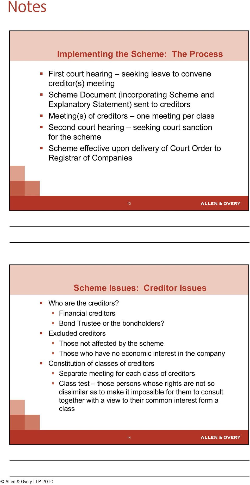 Who are the creditors? Financial creditors Bond Trustee or the bondholders?