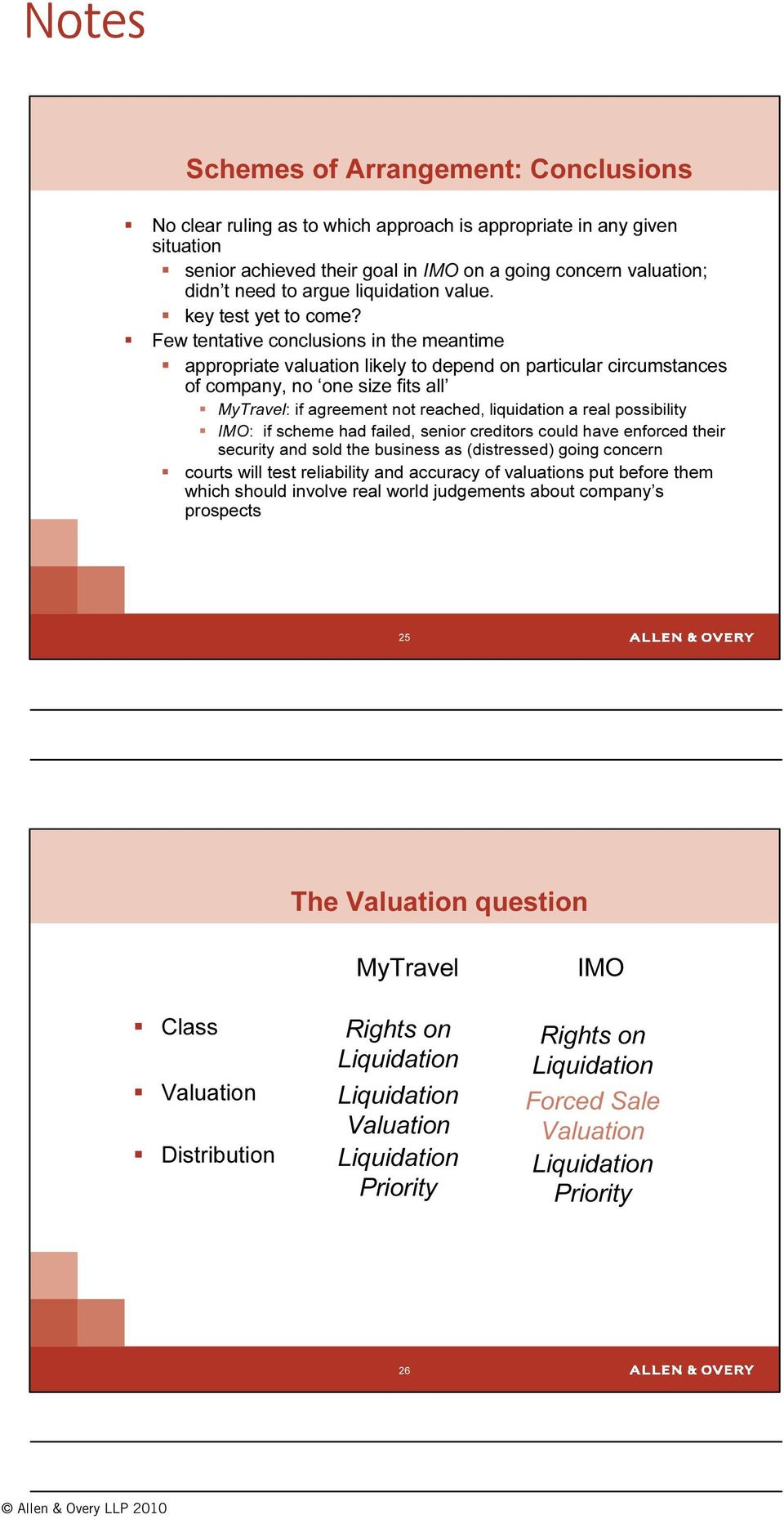 Few tentative conclusions in the meantime appropriate valuation likely to depend on particular circumstances of company, no one size fits all MyTravel: if agreement not reached, liquidation a real