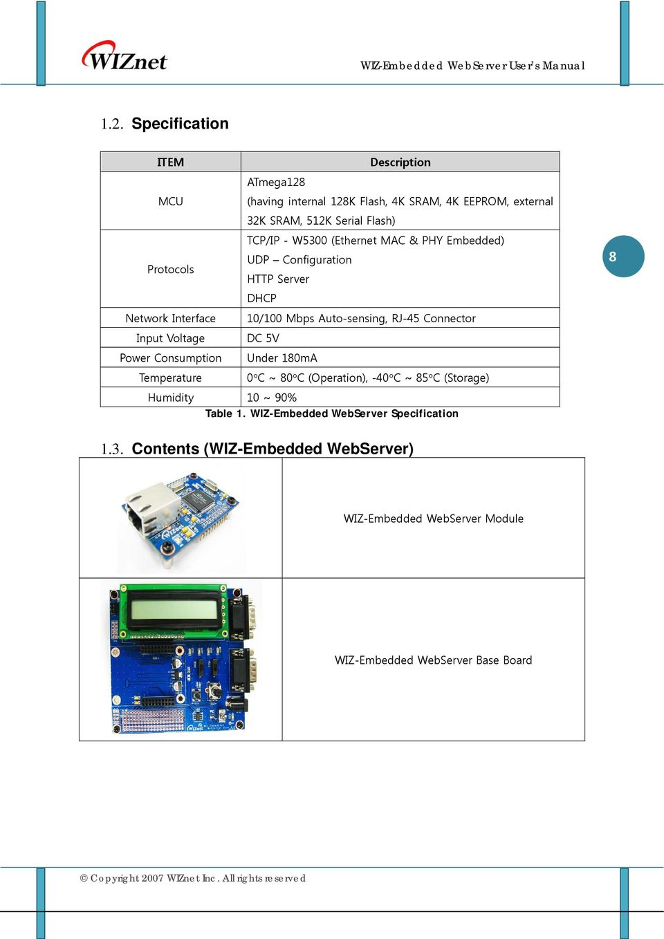 Server DHCP 10/100 Mbps Auto-sensing, RJ-45 Connector DC 5V Under 180mA 0 C ~ 80 C (Operation), -40 C ~ 85 C (Storage) Humidity 10 ~ 90%