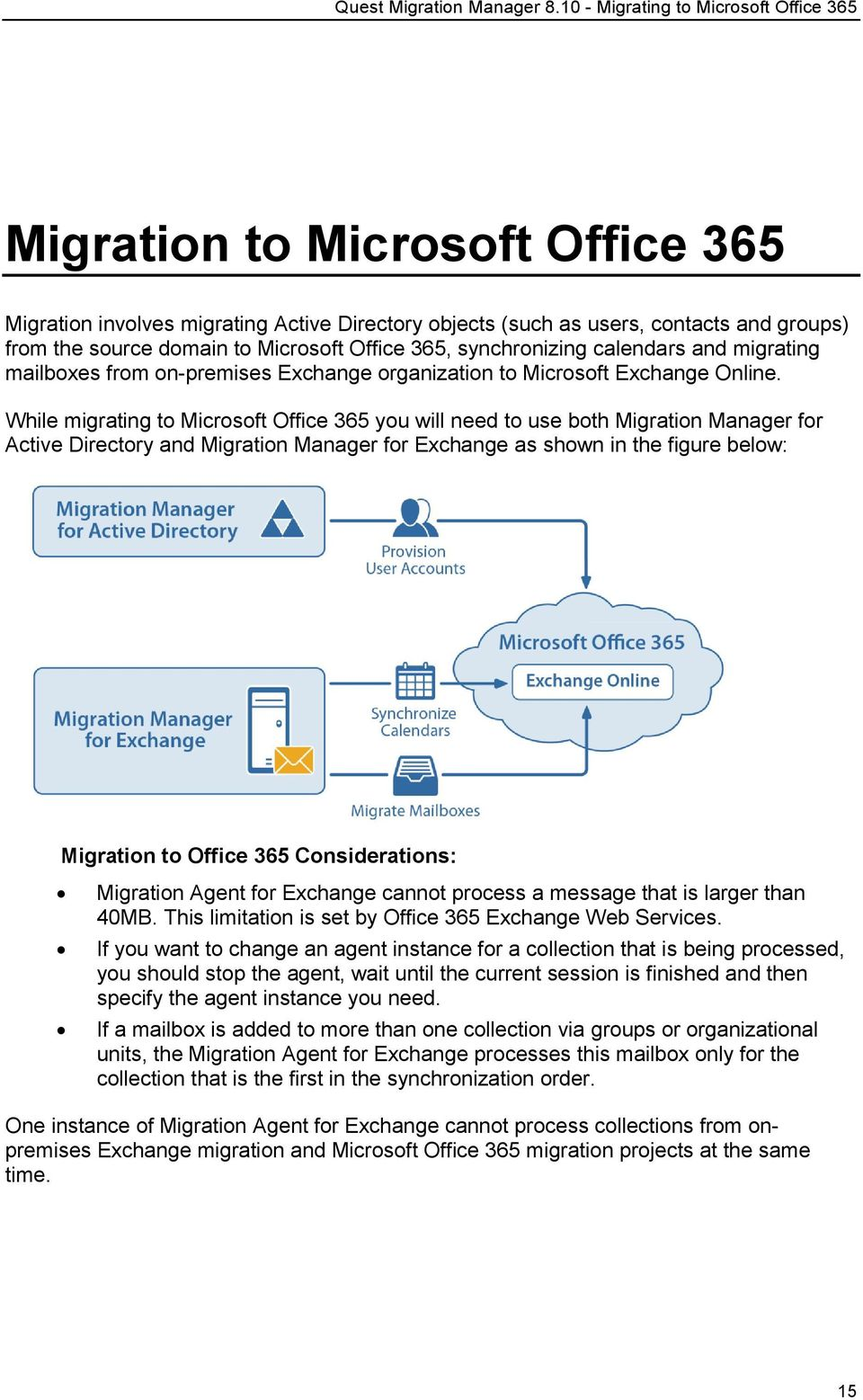 While migrating to Microsoft Office 365 you will need to use both Migration Manager for Active Directory and Migration Manager for Exchange as shown in the figure below: Migration to Office 365