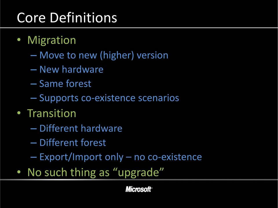 scenarios Transition Different hardware Different