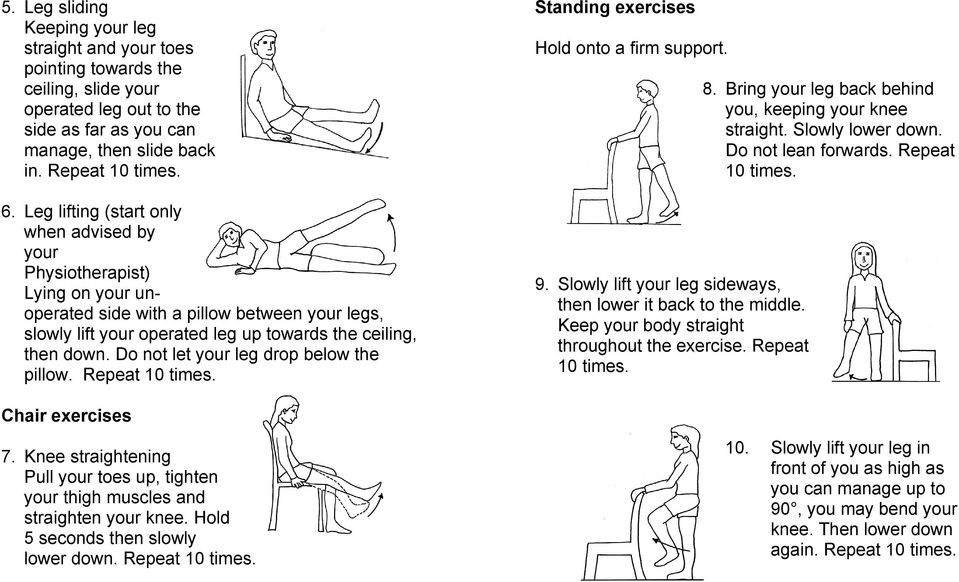 Do not let your leg drop below the pillow. Repeat 10 times. Standing exercises Hold onto a firm support. 9. Slowly lift your leg sideways, then lower it back to the middle.