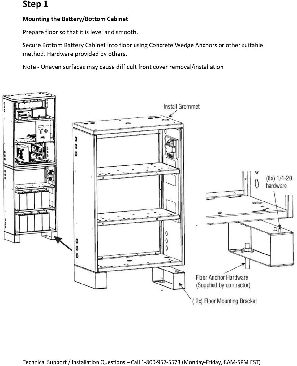 Secure Bottom Battery Cabinet into floor using Concrete Wedge Anchors or