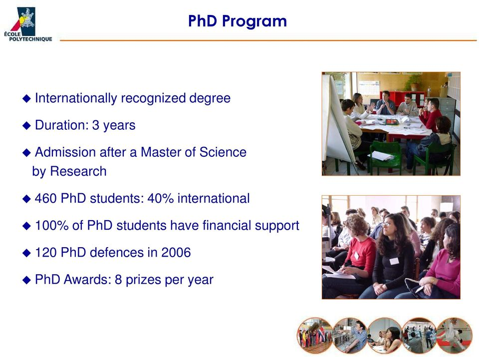 students: 40% international 100% of PhD students have