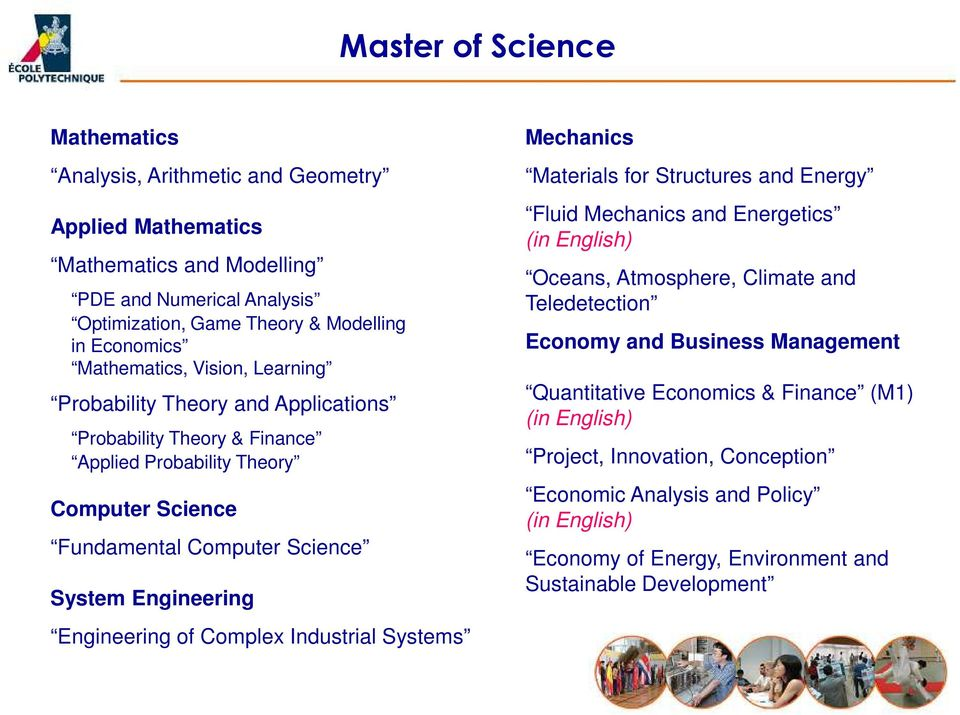 Engineering of Complex Industrial Systems Mechanics Materials for Structures and Energy Fluid Mechanics and Energetics (in English) Oceans, Atmosphere, Climate and Teledetection Economy and