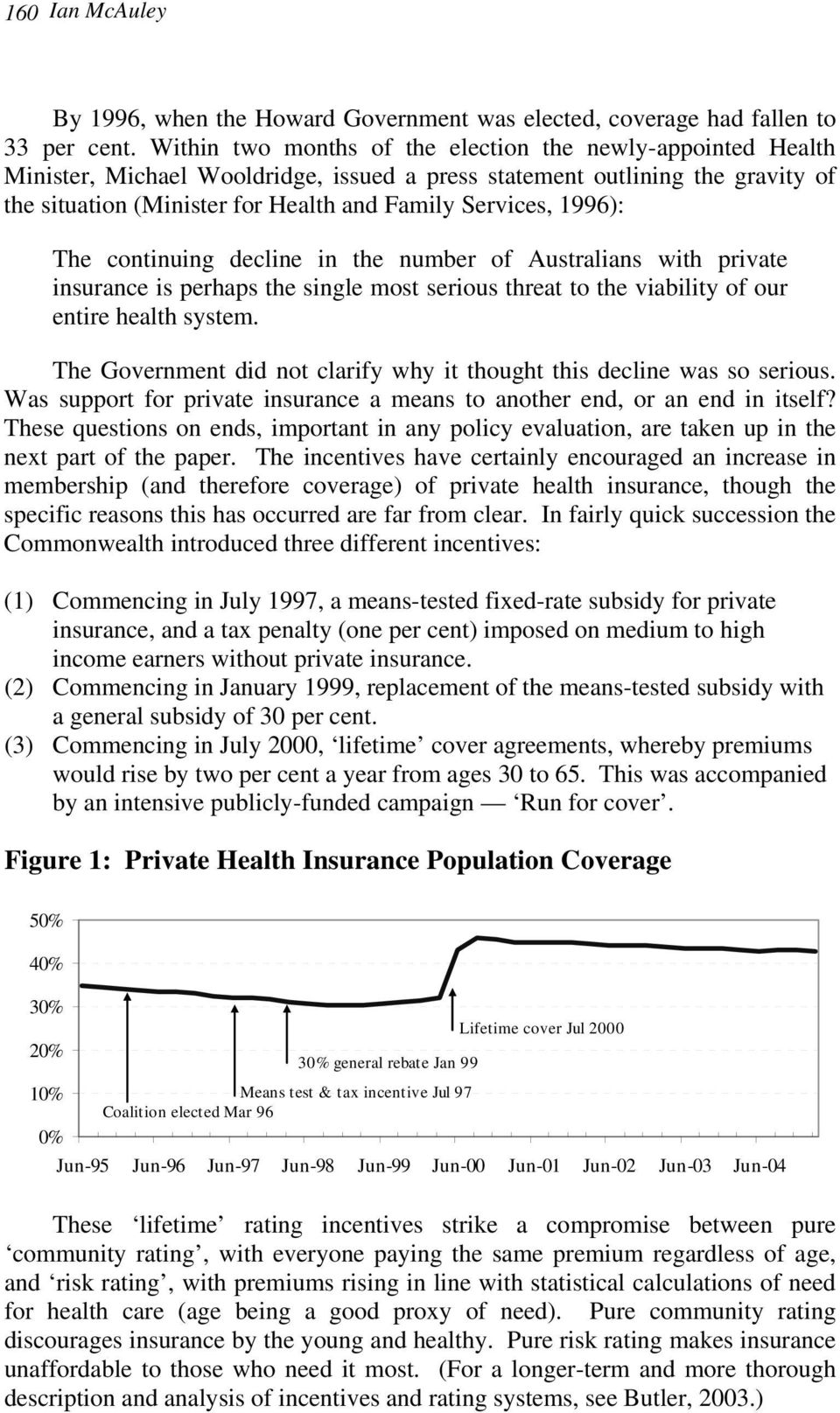 1996): The continuing decline in the number of Australians with private insurance is perhaps the single most serious threat to the viability of our entire health system.