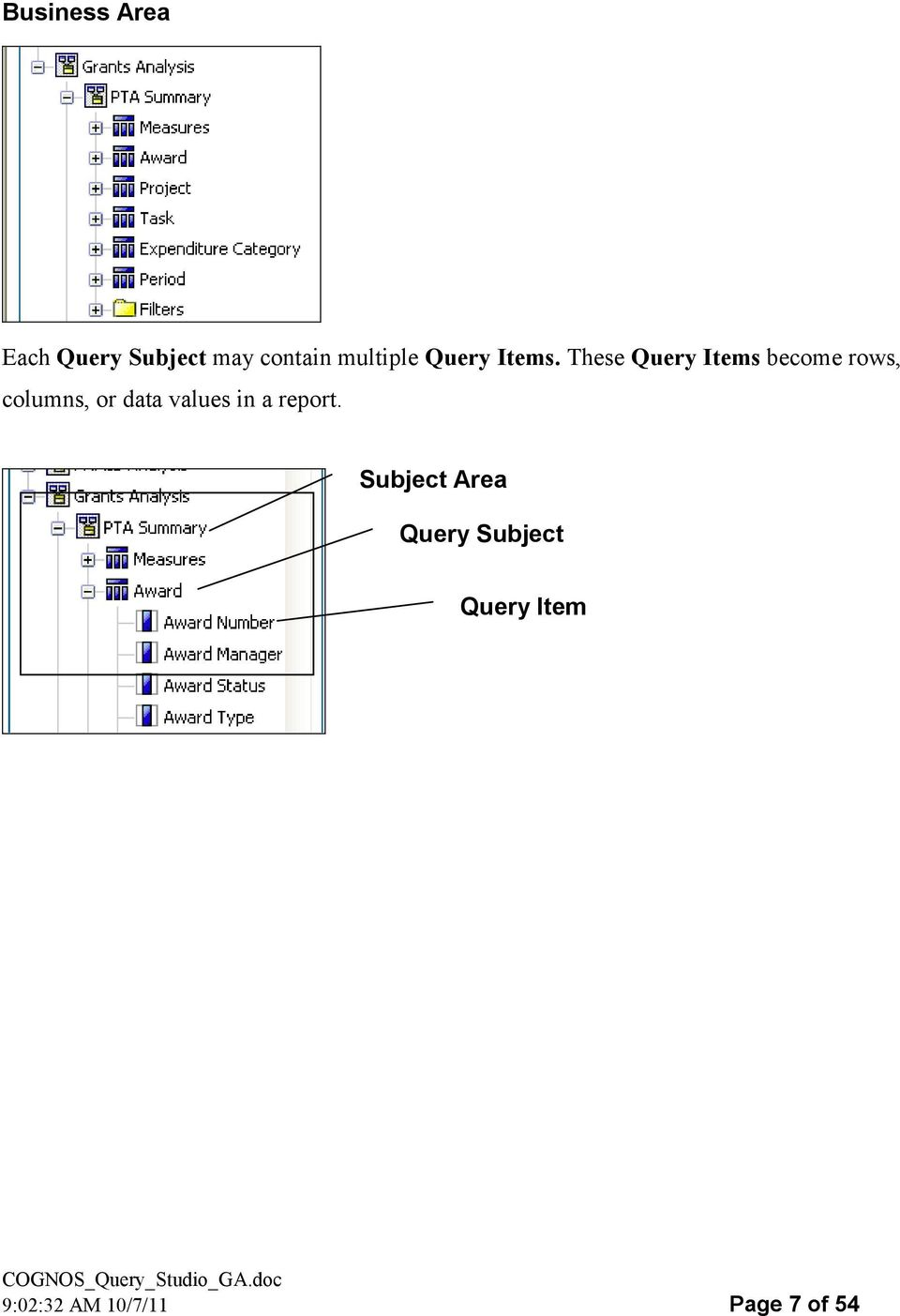 These Query Items become rows, columns, or data