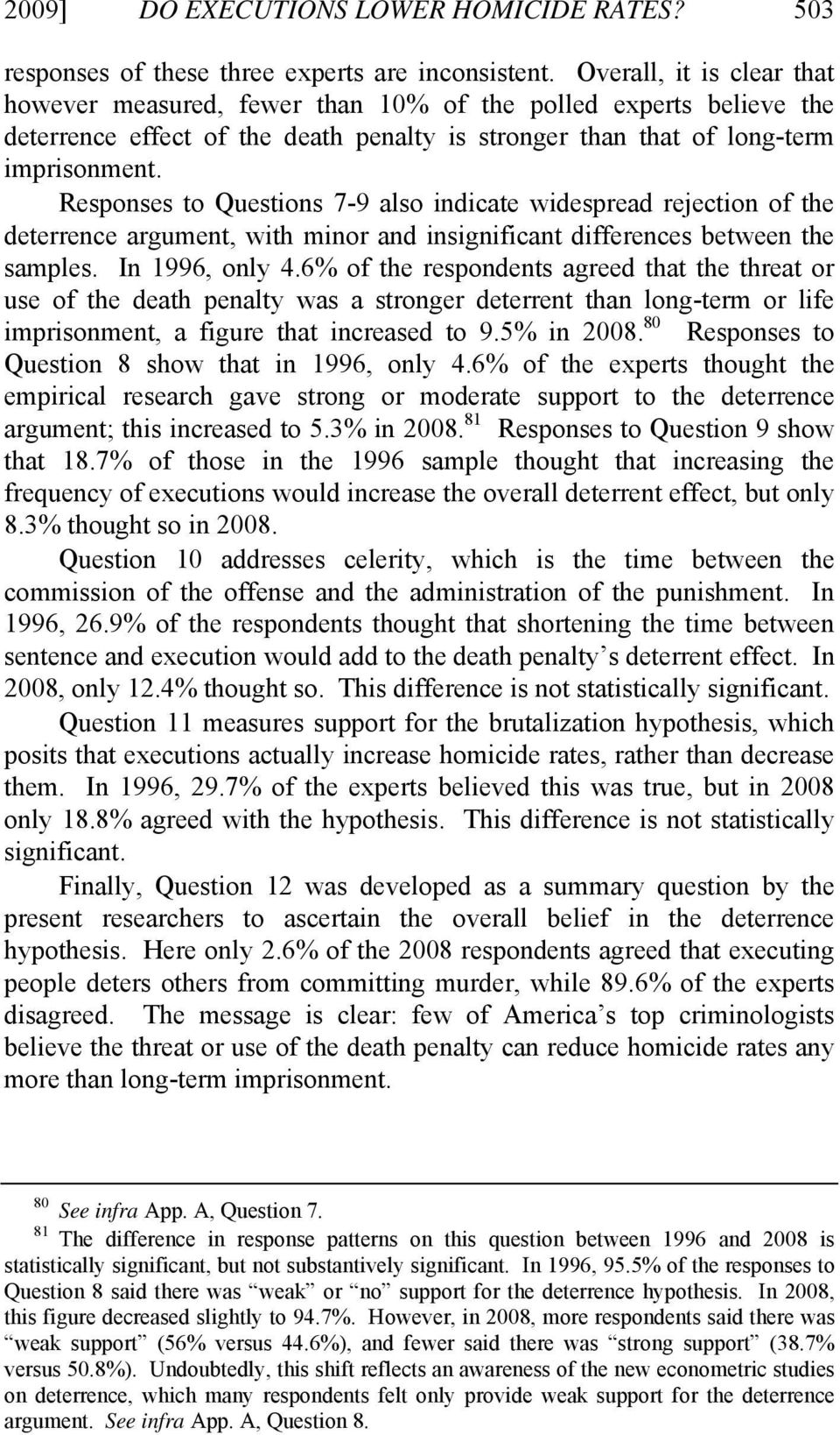 Responses to Questions 7-9 also indicate widespread rejection of the deterrence argument, with minor and insignificant differences between the samples. In 1996, only 4.