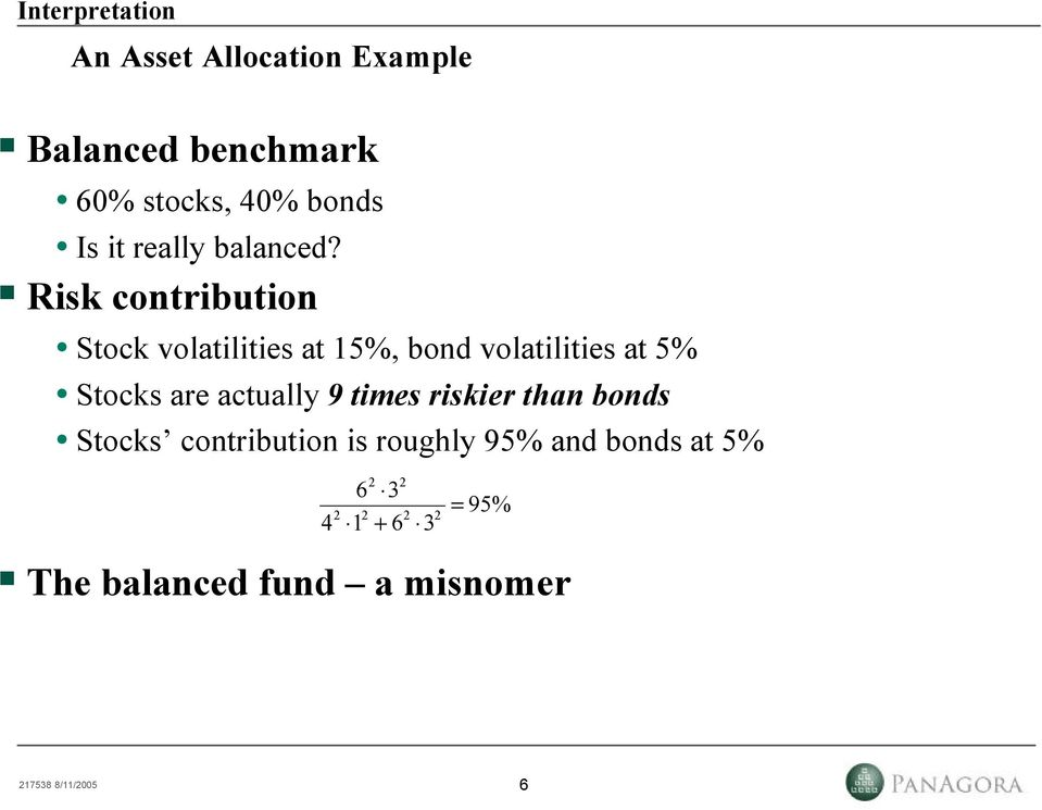 Risk contribution Stock volatilities at 5%, bond volatilities at 5% Stocks are