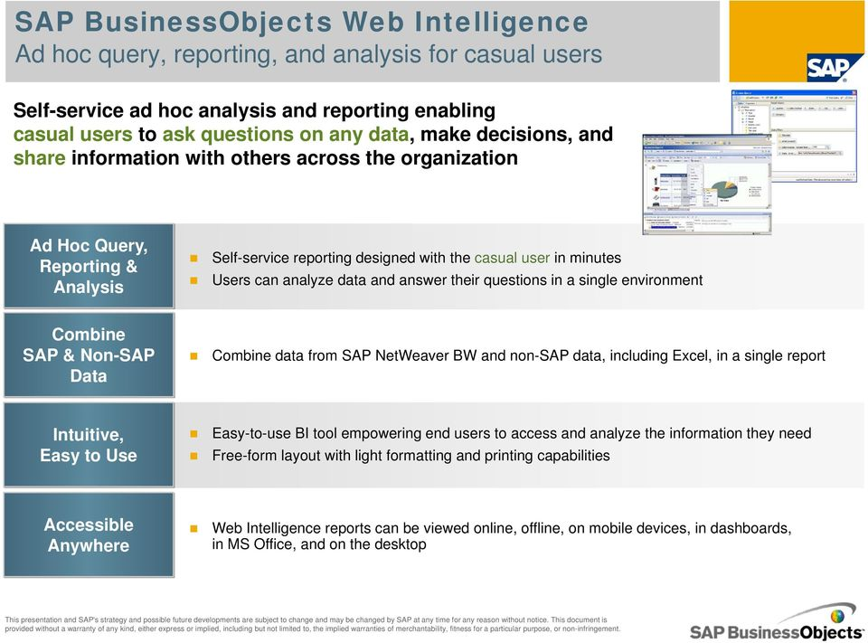 answer their questions in a single environment Combine SAP & Non-SAP Data Combine data from SAP NetWeaver BW and non-sap data, including Excel, in a single report Intuitive, Easy to Use Easy-to-use