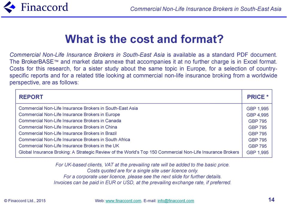 Costs for this research, for a sister study about the same topic in Europe, for a selection of countryspecific reports and for a related title looking at commercial non-life insurance broking from a