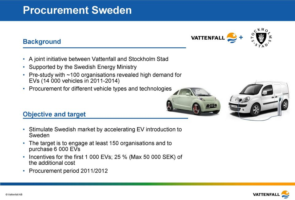 technologies Objective and target Stimulate Swedish market by accelerating EV introduction to Sweden The target is to engage at least 150