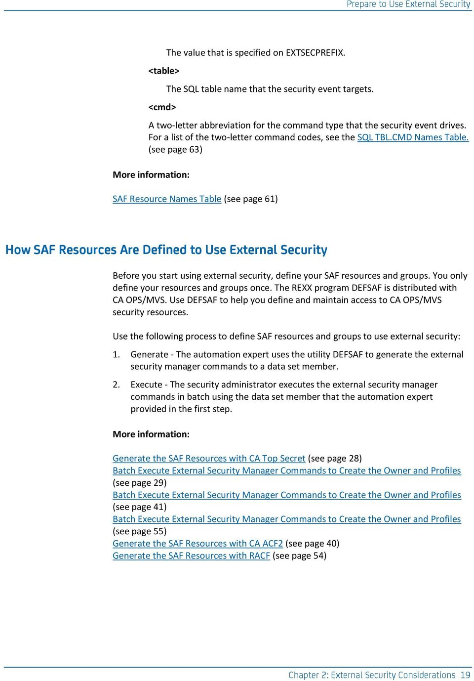 (see page 63) More information: SAF Resource Names Table (see page 61) How SAF Resources Are Defined to Use External Security Before you start using external security, define your SAF resources and