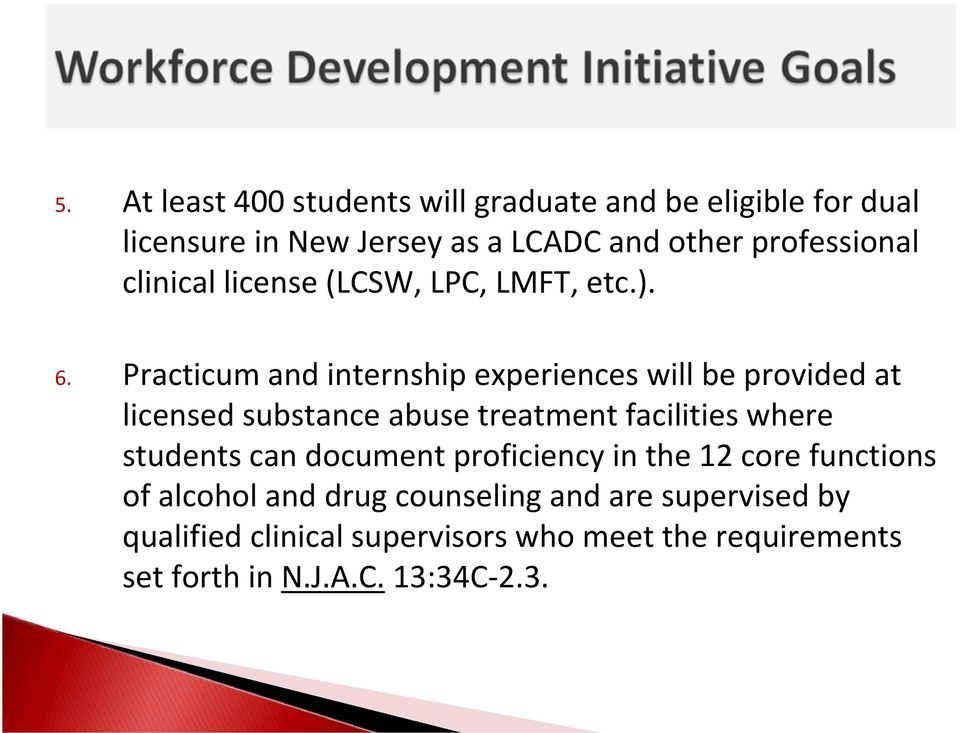Practicum and internship experiences will be provided at licensed substance abuse treatment facilities where students