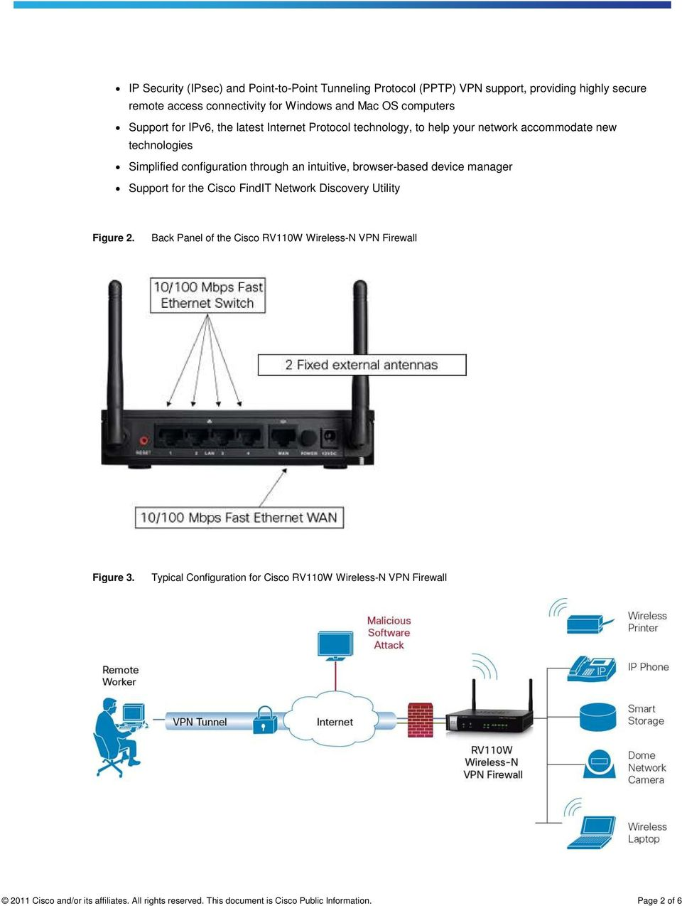 browser-based device manager Support for the Cisco FindIT Network Discovery Utility Figure 2. Back Panel of the Cisco RV110W Wireless-N VPN Firewall Figure 3.