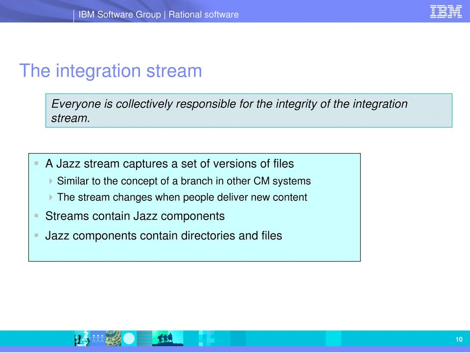 A Jazz stream captures a set of versions of files Similar to the concept of a branch
