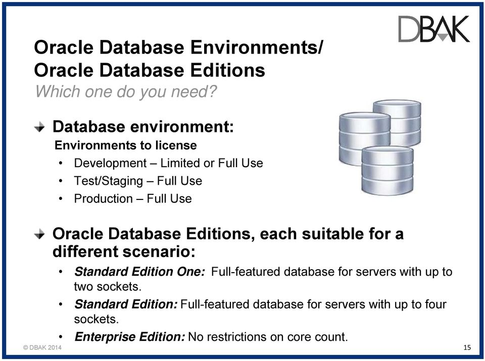 Use Oracle Database Editions, each suitable for a different scenario: Standard Edition One: Full-featured database for