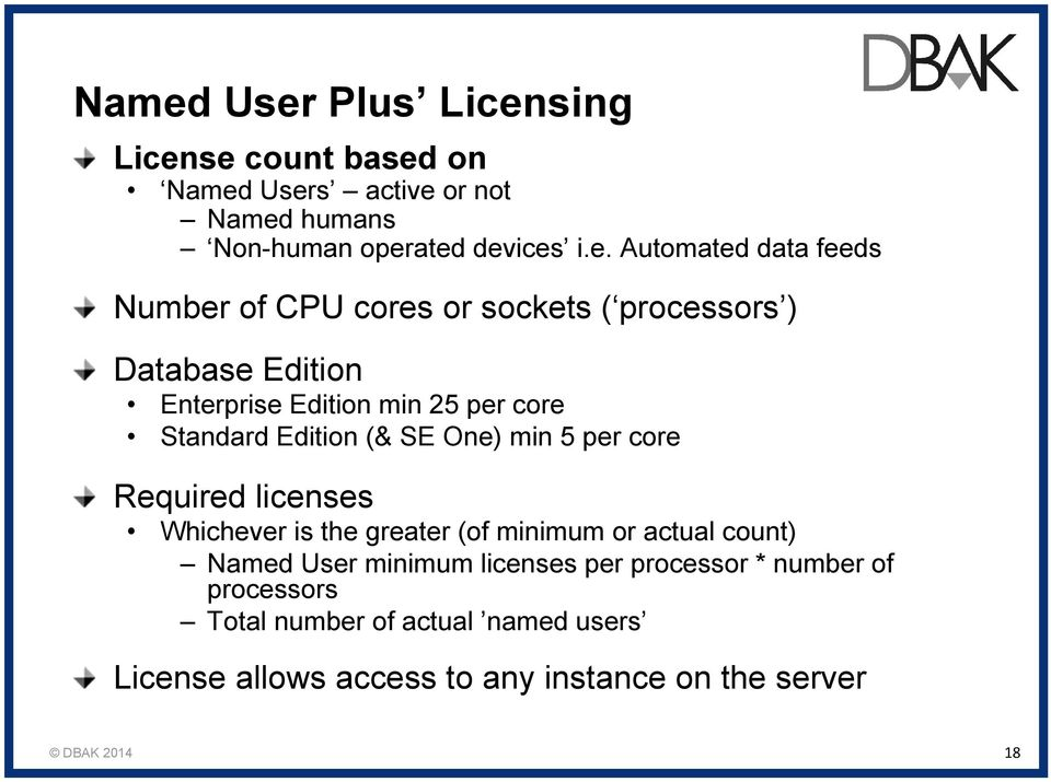 Standard Edition (& SE One) min 5 per core Required licenses Whichever is the greater (of minimum or actual count) Named User