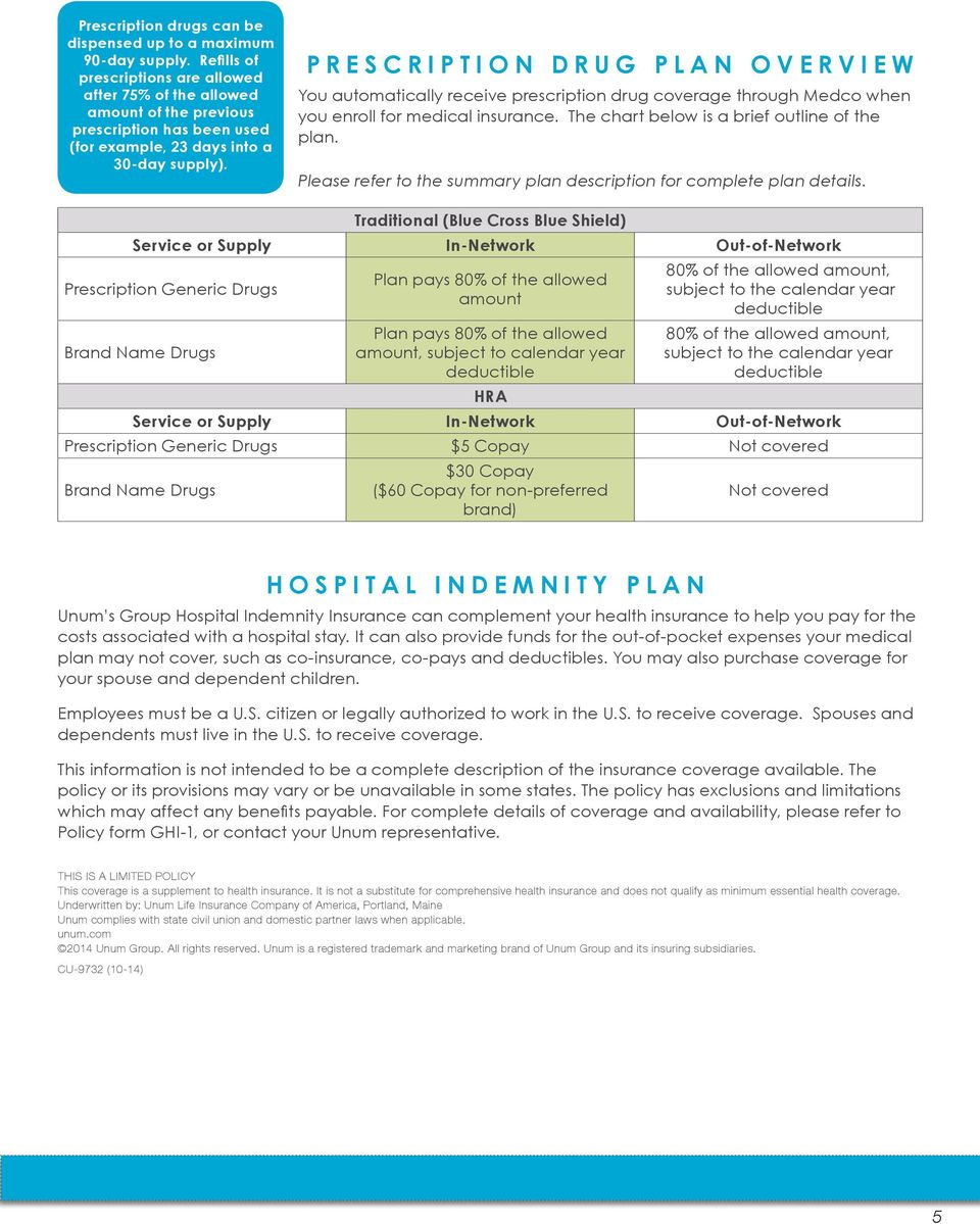 PRESCRIPTION DRUG PLAN OVERVIEW You automatically receive prescription drug coverage through Medco when you enroll for medical insurance. The chart below is a brief outline of the plan.
