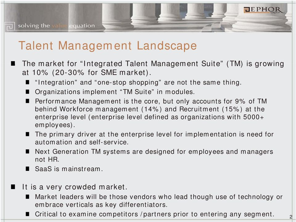 Performance Management is the core, but only accounts for 9% of TM behind Workforce management (14%) and Recruitment (15%) at the enterprise level (enterprise level defined as organizations with